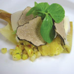 Corn & Crab Tamale with truffle, jalapeño and pea tendril