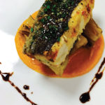 Crab-Stuffed Rainbow Trout with vanilla and sweet potato puree, braised fennel, Sicilian salsa verde, and saba mitica