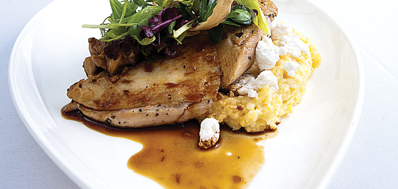 Herb-Roasted Chicken with Goat Cheese-Laced Grits and Mushroom Ragout
